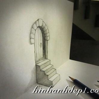 Hình vẽ 3D trừu tượng bằng bút chì đẹp mà ảo đánh lừa thị giác