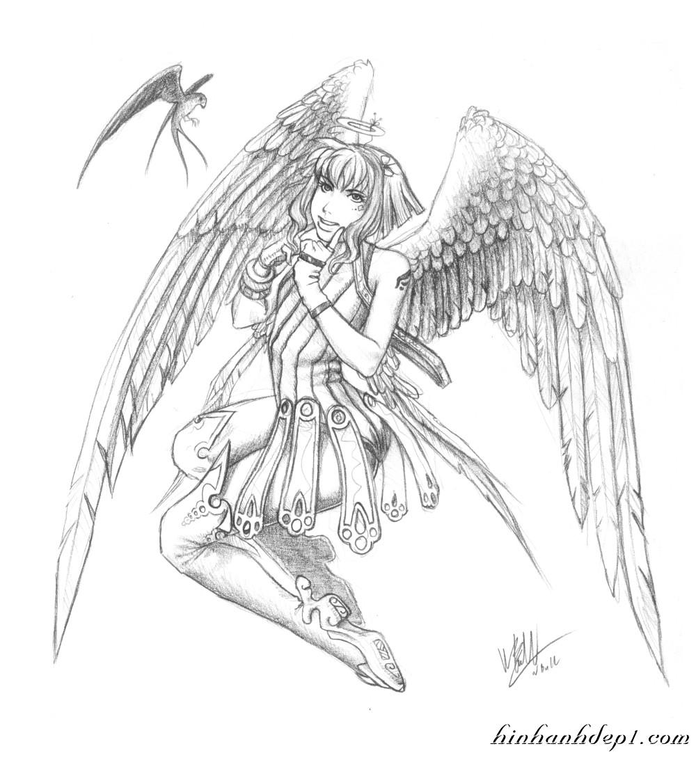 Hình vẽ thiên thần đẹp như thật bằng bút chì