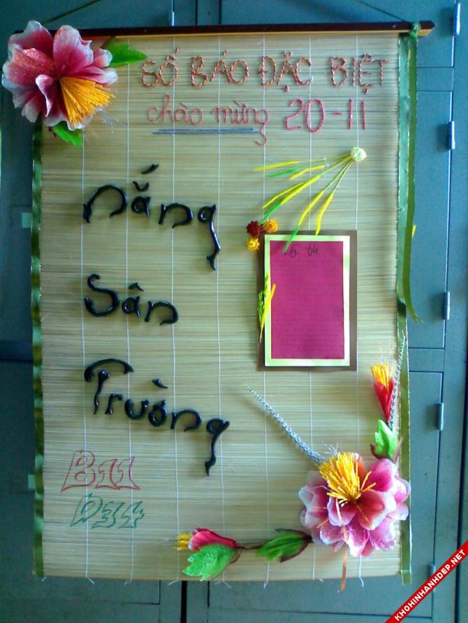 Mẫu báo tường 20-11 độc lạ được làm từ chiếu cói gắn thêm hoa và chữ