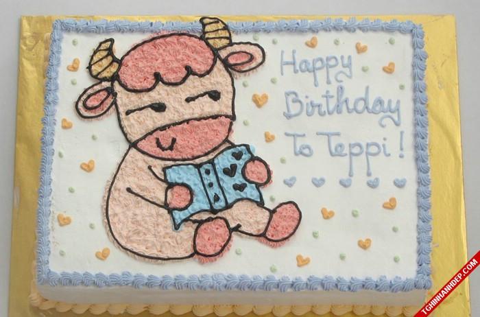 Mẫu bánh kem sinh nhật dành cho bé trâu đang học bài