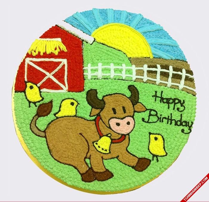 Bánh sinh nhật hình chú trâu tinh nghịch