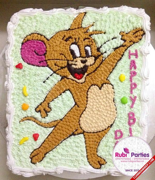 Mẫu bánh sinh nhật tuổi Tý vẽ hình chuột Jerry cho fan của bộ phim Tom và Jerry