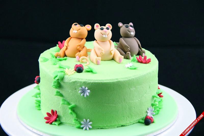 Bánh sinh nhật dành cho bộ 3 chú chuột tinh nghịch.