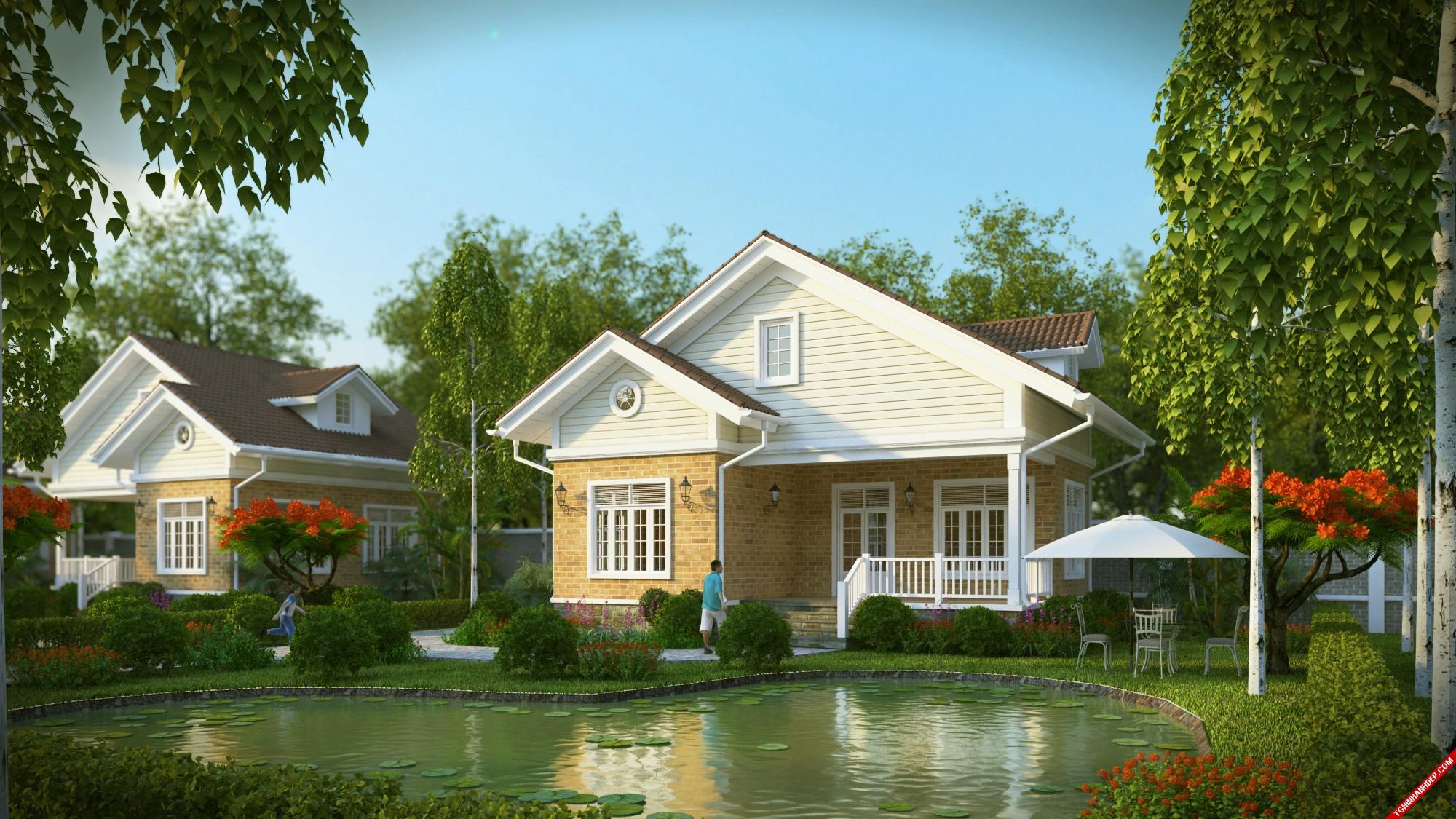 Hồ sen ngay giữa sân vườn làm điểm nhấn cho ngôi nhà cấp 4