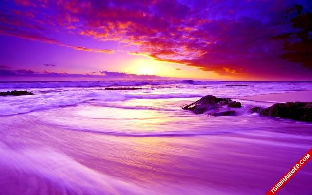 Bãi biển đẹp gợn sóng ánh hoàng hôn tím đầy lãng mạn, cuốn hút người xem